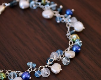 Freshwater Pearl Bracelet, London Blue Topaz and Moonstone Gemstone, Sterling Silver, Bridal Jewelry - Bluebells - Free Shipping