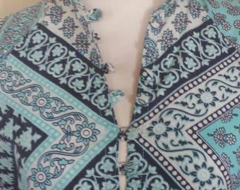 Vintage 60's 70's Block Print Cotton Maxi Dress