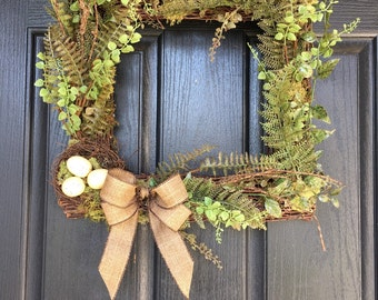 Square woodland birch wreath with nest and eggs -spring summer wreath