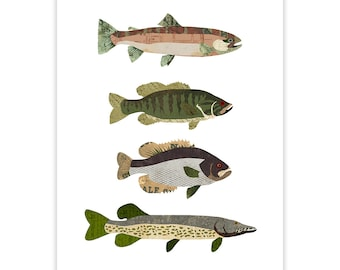 Fish Art Print - Illustration - Print rustique de Collage