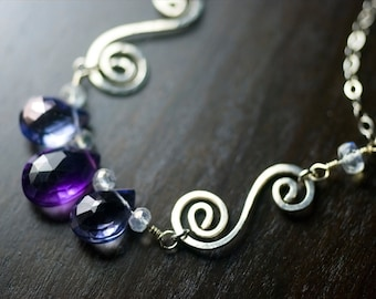 "Amethyst Gemstone Sterling Silver Necklace - Purple Amethyst, Mystic Blue Quartz, Blue Fire Moonstone, Spiral, February - ""Iris"""