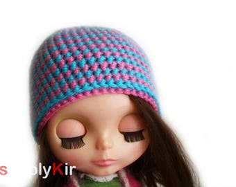 SimplyKir Pink and Blue stripes  blythe  hat (PreMade)