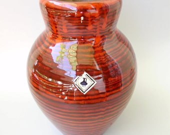 Vintage Hungarian cherry red vase,Mid-century Modern ceramic vase,pottery