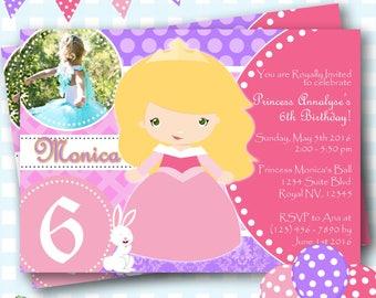 Sleeping Beauty Invitation, Disney Aurora Invitations, Sleeping Beauty Birthday Invitation, Princess Aurora Birthday Invite - P615