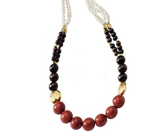 Necklace of Sponge Coral, Wood Beads, Porcelain and Gold Plated Metal Beads Handmade in the U.S.A.