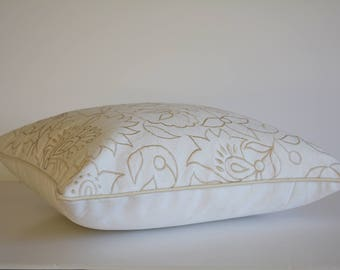 Light Beige Embroidery on 100% Cotton Canvas Pillow Cover , Beige Embroidered Cushion Cover , Nude Floral Embroidered Cotton Pillow Cover