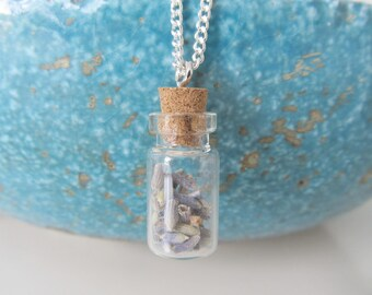 Lavender necklace, bottle necklace, real plant jewelry