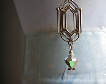 Brass art deco chandelier necklace with vintage swarovski vitrail crystal and tiny star