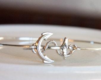 Anchor Bangle, Women's Anchor Bracelet, Silver Nautical Jewelry, Anchor Jewelry, Nautical Bracelet, Anchor Bangle Bracelet, Navy Style