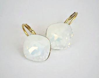 Swarovski crystal 12mm square fancy stone golf earrings,sparkling white opal,yellow gold pl. elegant setting,foam white