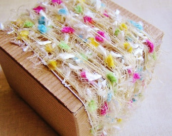 Candy Rainbow Tassel Pom Fringe Garland - wedding party craft supply, scrapbook embellishment, specialty gift wrap, novelty trim- 5 yds