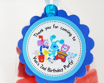 """Personalized Blue's Clues 2"""" Scallop Party Favor Bag Tags"""