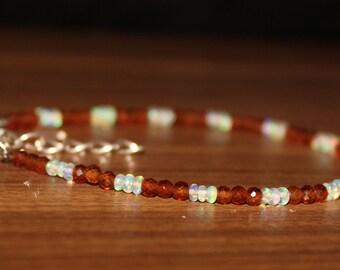 Ethiopian Opal Bracelet, Garnet Bracelet, Opal & Garnet Bracelet, Gemstone Bracelet, Wedding Jewelry, Hassonite Garnet, Opal 0023