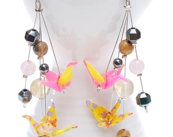 Origami earrings in yellow and pink paper with citrine, jasper, quartz and hematite