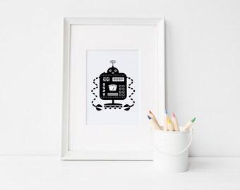 Robot Nursery Print • Black and White Print • Digital Download • Robot Wall Art • Robot Print • Beep Robot • Boy Room Wall Art