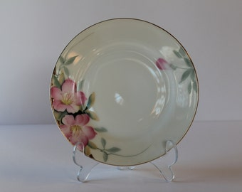 """Noritake Azalea 19322 Bread & Butter Plate Red Wreath """"M"""" Circa 1925 to 1933 Wedding Holiday Special Occasion China"""