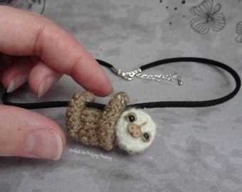 sloth pendant, sloth necklace, baby sloth, two toed sloth, sloth plush, miniature, Mini, tiny, sloth, jewellery, jewelry, gift.