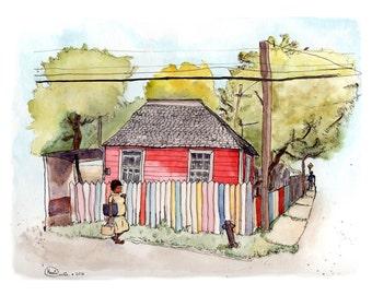 Caribbean Roots // Watercolour Urban Sketch