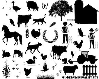 Farm Animals Clipart Black – 34 PNG Images