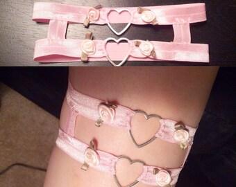 Kawaii leg garter, heart garter