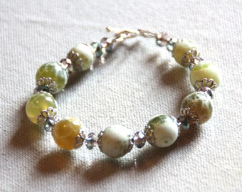 Green fire agate, Crystal and 925 sterling silver bracelet
