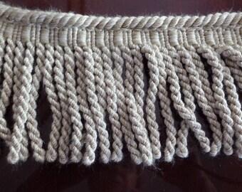 4 1/3 Yards of Beige Fringed Rug Binding 4 Inch
