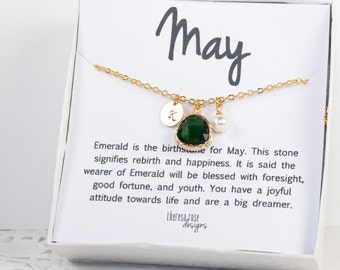 May Birthstone Personalized Gold Necklace, Personalized Emerald Necklace, May Birthday Jewelry, Personalized Gold Necklace [#877]