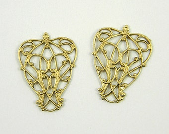 4 pcs., Raw Brass Filigree, Nouveau Filigree, Filigree Connector, Brass Filigree Wrap, Raw Brass Stamping, 23mm x 17mm - (r158)