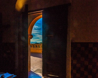 """Mission San Xavier """"Mission Door to Desert Sky"""" Fine Art Photograph (9.5"""" x 13.25"""" print on 14"""" x 18"""" archival board) Limited Edition Signed"""