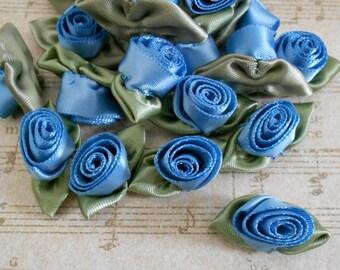 Blue Satin Rosettes