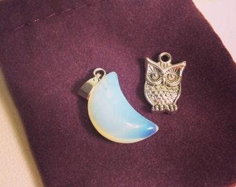 Opalite Moon Pendant Charm (crescent moon, lunar wisdom, priestess, first moon, fertility, red tent, ritual, women's ceremony)