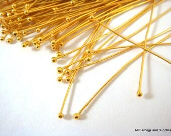 50+ Ball Headpins 2 inch Gold Plated Brass 22-24 Gauge NF Ball Pin - 50 pc - F4028BHP-G50