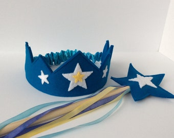 Wool Felt Crown and Wand-- silk and wool Star Child play set in vibrant blue with hand dyed silk streamers