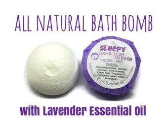 Aromatherapy Sleepy Lavender Bath Bomb - Essential Oil Bath Bomb Fizzie - Therapeutic Grade Lavender Essential Oil - Baby Bath Bombs - Vegan