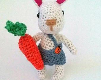 Crochet bunny, crochet bunny toy, knitted rabbit with carrot, bunny toys, stuffed bunny, stuffed easter bunny, amigurumi bunny  with carrot