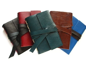 """Custom Leather Journal 4"""" x 6"""", blank leather book  -  Choose your colour of leather and thread"""