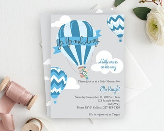 Up Up and Away Baby Shower Invitation, Printable Baby Shower Invitation, Hot Air Balloon, Baby Shower, Baby Boy Baby Shower, Blue, Boy Baby