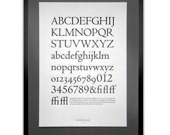 Centaur Letterpress Typography Print