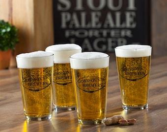 Personalized Beer Glasses Set Of 4 Four Monogrammed Custom Barware Mugs  Pint Pints Pilsner Glass Glassware