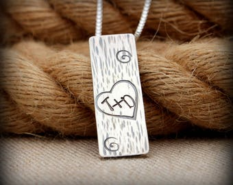 Initials carved in tree necklace, Sterling silver tree initial necklace