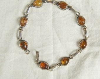 SALE WAS 40  Vintage Silver Bracelet With Bezel Set Tear Drop Amber