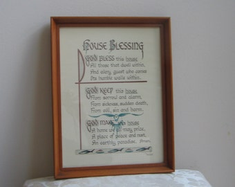 Vintage House Blessing Religious Wall Art Print in Wood Frame by Madonna College Art Dept., Mid Century Minimalist Zen
