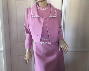 Petite Francaise Authentic Vintage 1960's Mad men/Mod Pink Dress and Jacket sz 10/12