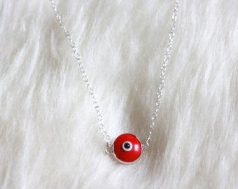 Evil Eye Necklace - Murano Glass and Sterling Silver -- RED