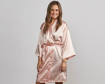 Bridesmaid Robes, Silk Robe, Robes for Bridesmaids, Blush Pink Wedding Robes, Bridesmaids Gifts (Solid Colors)
