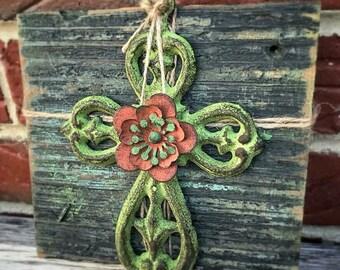 Cast Iron Cross on Reclaimed Wood Decor, Green Painted Cast Iron Cross, Religious Decor