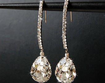 Wedding Earrings, Bridal Chandelier Swarovski Crystal Cubic Zirconia Drop Earrings, Wedding Jewelry  - Decadence