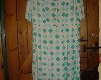 Original 1940's Cotton Harlequin Dress