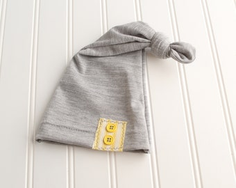 Little Ray of Sunshine - newborn sleeper cap hat in a heather grey and charcoal with yellow and cream pinstripe accent and buttons (RTS)