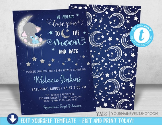 Boy Baby Shower Invitation, Love You To the Moon and back Baby Shower Invitation, Elephant Baby Shower invite, Twinkle Twinkle Little Sar
